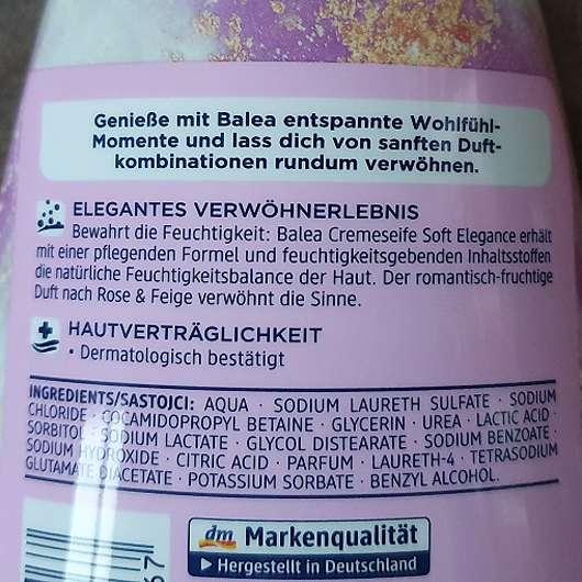 Balea Cremeseife Soft Elegance (LE) - Details Rückseite
