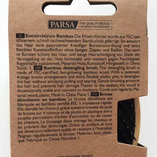 PARSA Beauty Entwirrbürste Bambus - Details auf der Verpackung