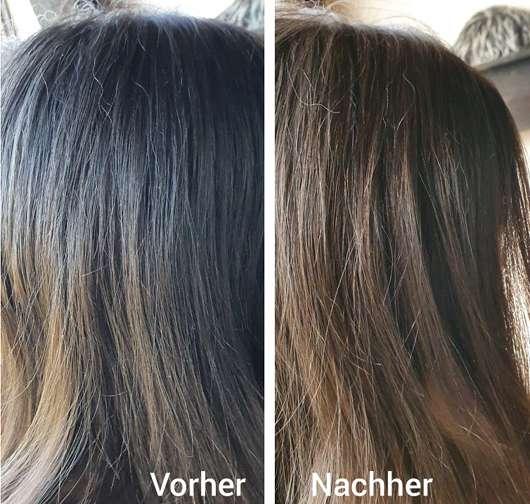 Haare vor/nach der Anwendung des Balea 6in1 Trockenshampoos
