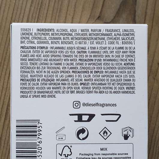 DIESEL Only the brave Eau de Toilette - Verpackungsrückseite