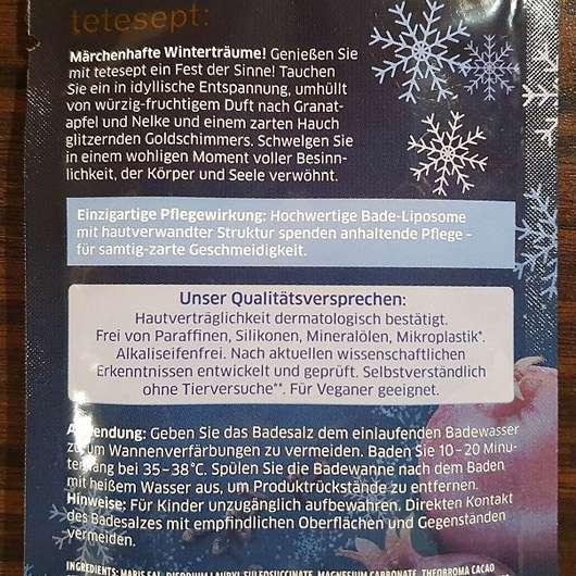 """tetesept Fest der Sinne """"Wintermärchen"""" Winterliches Pflegebad"""