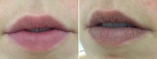 links: ohne Produkt // rechts: mit trend IT UP Powder To Cream Lip Mousse, Farbe: 010