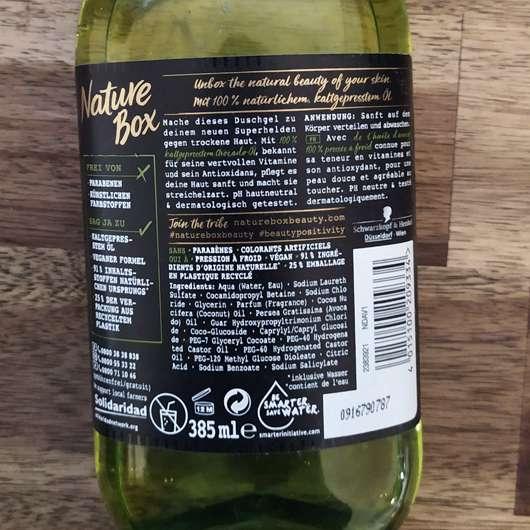 Nature Box Duschgel Avocado-Öl - Verpackungsrückseite