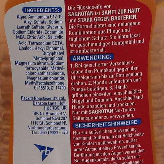 Sagrotan Sanft zur Haut Flüssige Handseife (Luxury Spa Edition) - Verpackungsrückseite