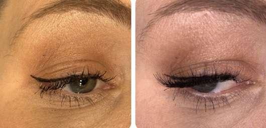 links: ohne falsche Wimpern // rechts: mit falschen Wimpern