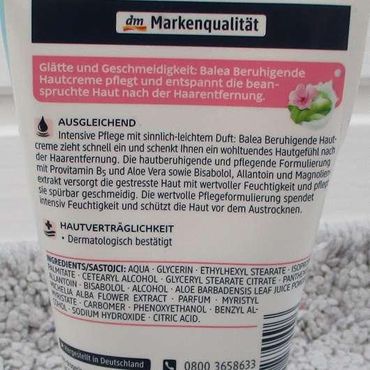 Balea Beruhigende Hautcreme - Verpackungsrückseite