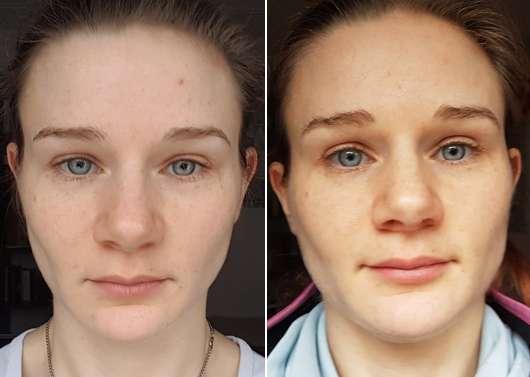 links: vor der Anwendung // rechts: nach der Anwendung der ISANA Pflegemaske Augen & Lippen
