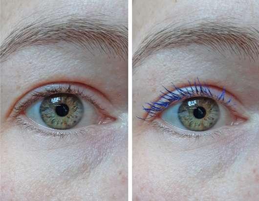 Auge ohne/mit ARTDECO Angel Eyes Mascara, Farbe: 6 azure (LE)