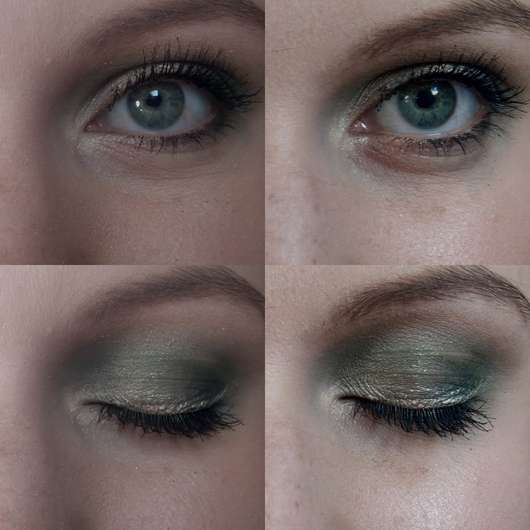 Die Farbe als Eyeliner (rechts frisch aufgetragen, links nach ca. 8 Stunden)