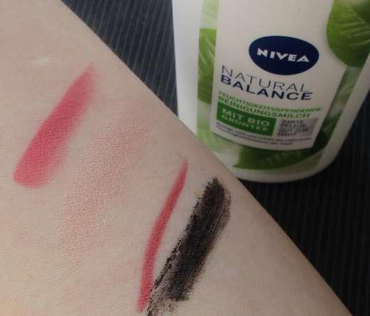 Unterarm mit Make-up vor Anwendung der NIVEA Natural Balance Feuchtigkeitsspendende Reinigungsmilch