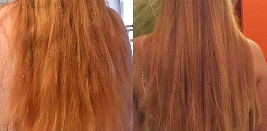Phytorelax Olio di Argan Nourishing Mask - rechts: Haare zu Testbeginn // links: Haare zu Testbeginn // rechts: Haare nach zweiwöchigem Test