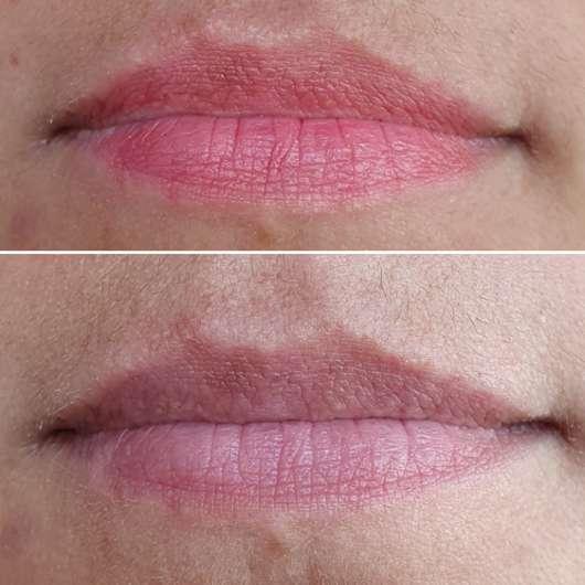Lippen ohne/mit ISANA Getönte Lippenpflege Color 2 Care, Farbe: Rot