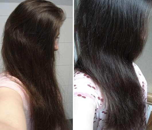 Haare vor/nach dem Test des Desert Harvest Aloe-Herbal Shampoo & Shower Gels