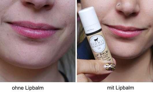 """Lippen ohne / mit DIONIS Goat Milk Lip Balm """"Vanilla Bean"""""""