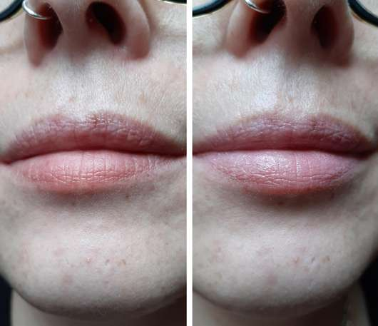 links Lippen ohne // rechts mit Make up Factory Inner Glow Lip Color, Farbe: 27 Pink Ballet (LE)