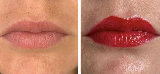 Lippen ohne/mit Sleek MakeUP Lip Shot Gloss Impact, Farbe: Corrupted