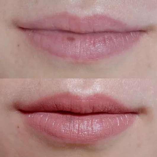 Lippen ohne/mit M. Asam MAGIC FINISH Satin Lipstick, Farbe: Almond
