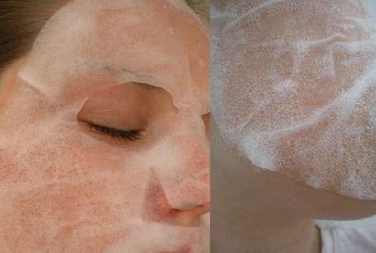 Gesicht mit #be routine Bubble Mask