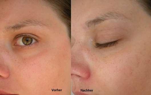 Haut vor/nach dem Test der #be routine Bubble Mask