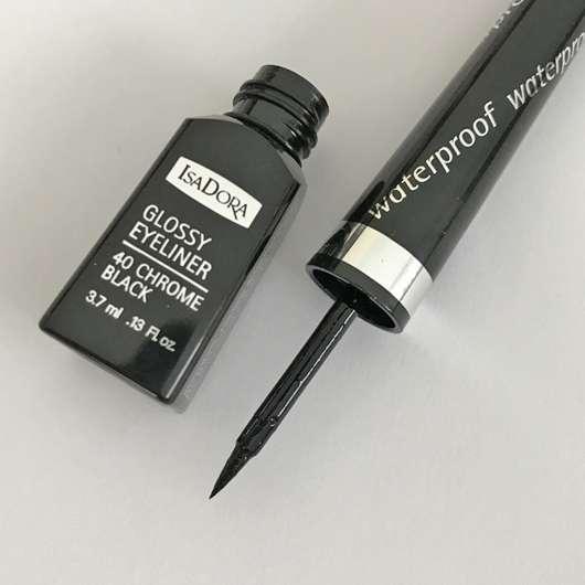 IsaDora Glossy Eyeliner Waterproof, Farbe: 40 Chrome Black - Pinsel