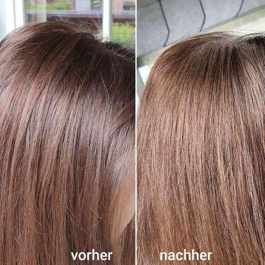 Haare vor/nach der Anwendung des Balea Trockenshampoos Schwungvoll (LE)