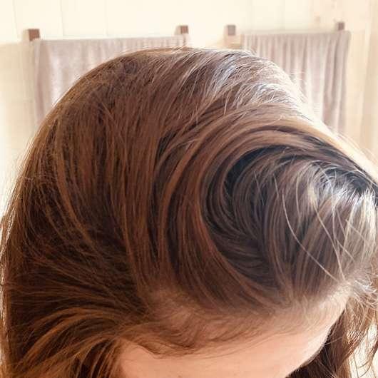 fettige Haare vor der Anwendung des Balea Trockenshampoos Schwungvoll (LE)