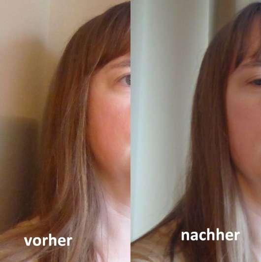 Haare vor und nach Benutzung des Puders