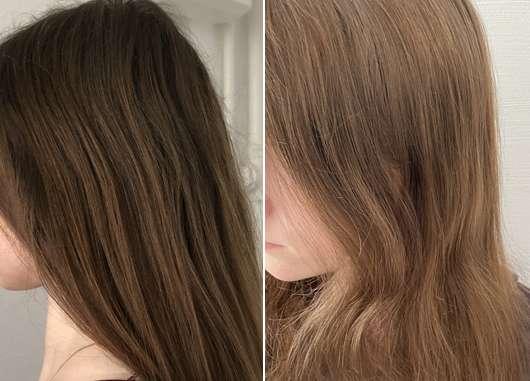Argand'Or Arganöl Haaröl - links: Haare zu Testbeginn // rechts: Haare nach Testende
