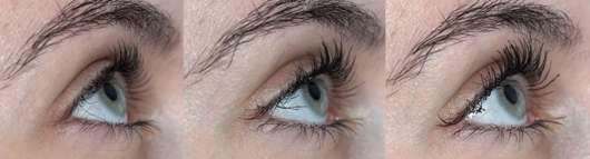 von links nach rechts: Wimpern ohne Mascara // eine Schicht Mascara // zwei Schichten Mascara