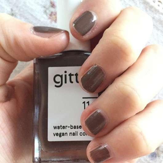gitti water-based vegan nail color, Farbe: 11 mokka - eine Schicht