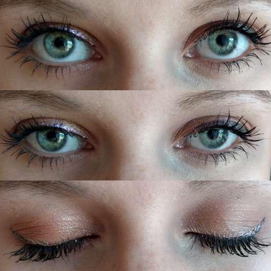 Eyeliner auf schwarzem Eyeliner aufgetragen in verschiedenen Lichteinfällen
