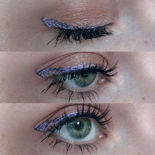 Eyeliner auf schwarzem Eyeliner aufgetragen