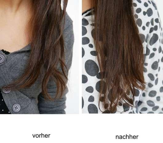 Haare vor/nach der Anwendung des LUSH Damaged (Hot Oil Treatment)