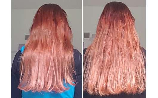 links: Haare vor dem Test (glänzend und geschmeidig) // rechts: Haare direkt nach der ersten Anwendung (kraus und matt)