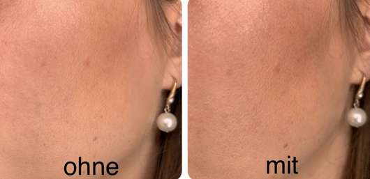 Haut ohne/mit IsaDora Face Mist Prime & Moisturize