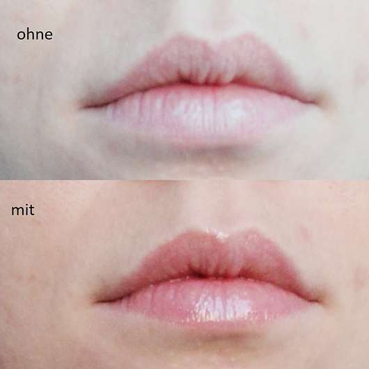 Lippen ohne/mit Clarins Instant Light Natural Lip Perfector, Farbe: 07 Toffee Pink Shimmer