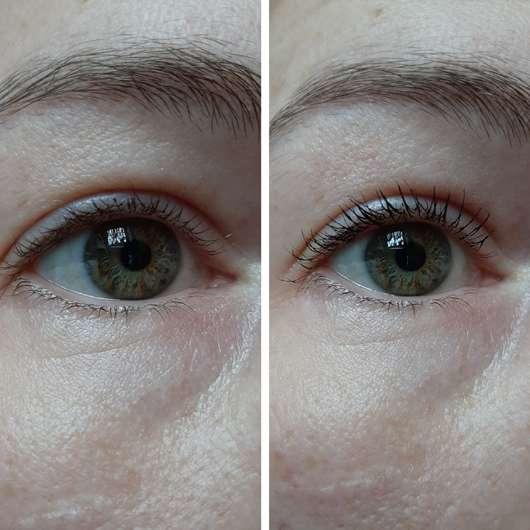 links ohne Mascara // rechts nur mit Länge-Bürste