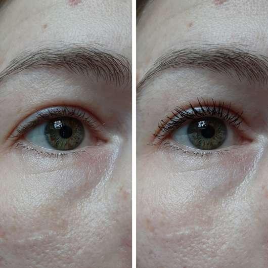 links ohne Mascara // rechts mit Länge- und Volumen-Bürste