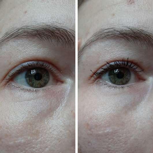 links ohne Mascara // rechts nur mit der Volumen-Bürste