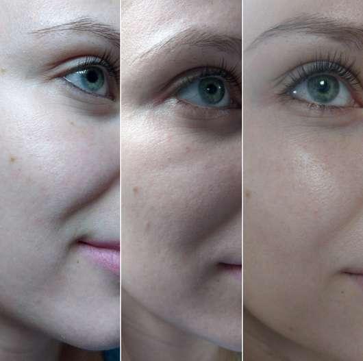 TheSkinHouse Aloe Fresh Serum - Von links nach rechts: Haut zu Beginn der Testphase // Haut nach 2 Wochen // Haut nach 4 Wochen