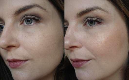 Links: Gesicht nur mit Foundation // rechts: mit Bronzer aufgetragen auf Wangenknochen & Nasenrücken