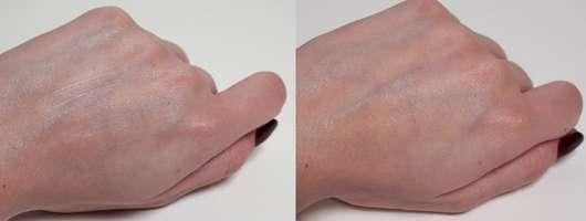 STYX Naturcosmetic Shea Butter Körpercreme - Links: Während des Einarbeitens // Rechts: Nach dem Einarbeiten