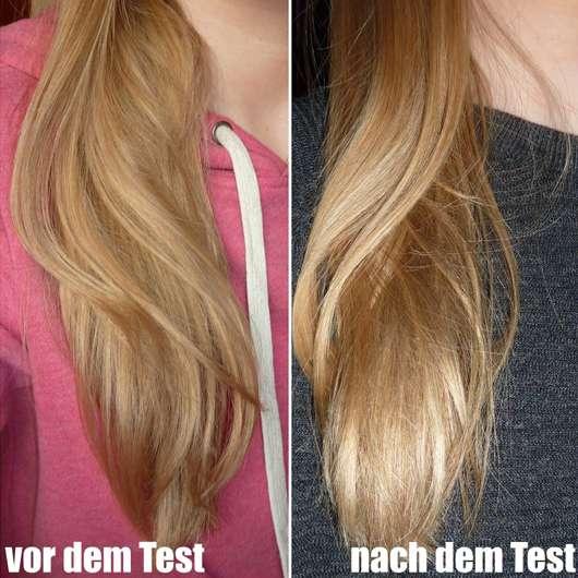 Haare vor/nach dem Test - Puffin Beauty Silky Spray Conditioner