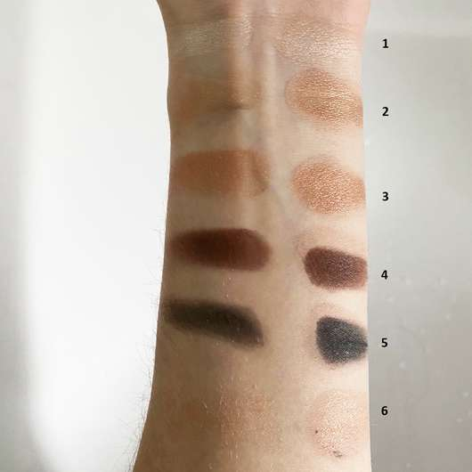 trend IT UP Color Circuit Eye Shadow Palette, Farbe: 010 - links: Swatches ohne Base // rechts: Swatches mit Base