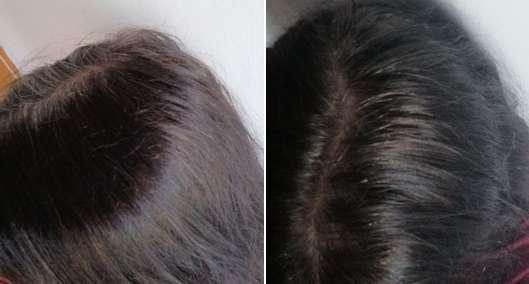 Haare vor/nach Anwendung der Garnier Color Herbalia 100% Pflanzenhaarfarbe Mokkabraun