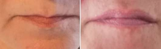 Lippen ohne/mit Catrice Volumizing Lip Balm, Farbe: 010 BeautyFull Lips